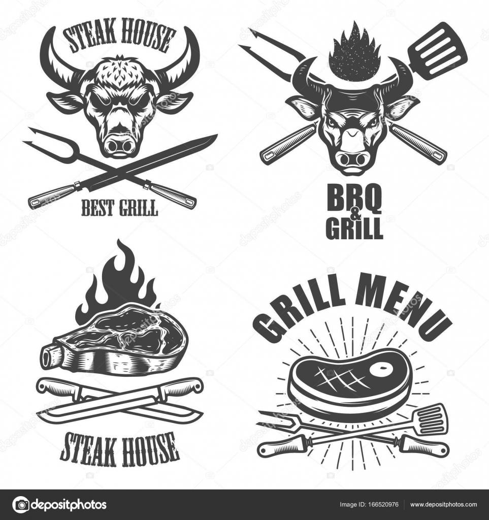 Satz von Steakhaus Emblem Vorlagen. BBQ-Grill-Menü — Stockvektor ...