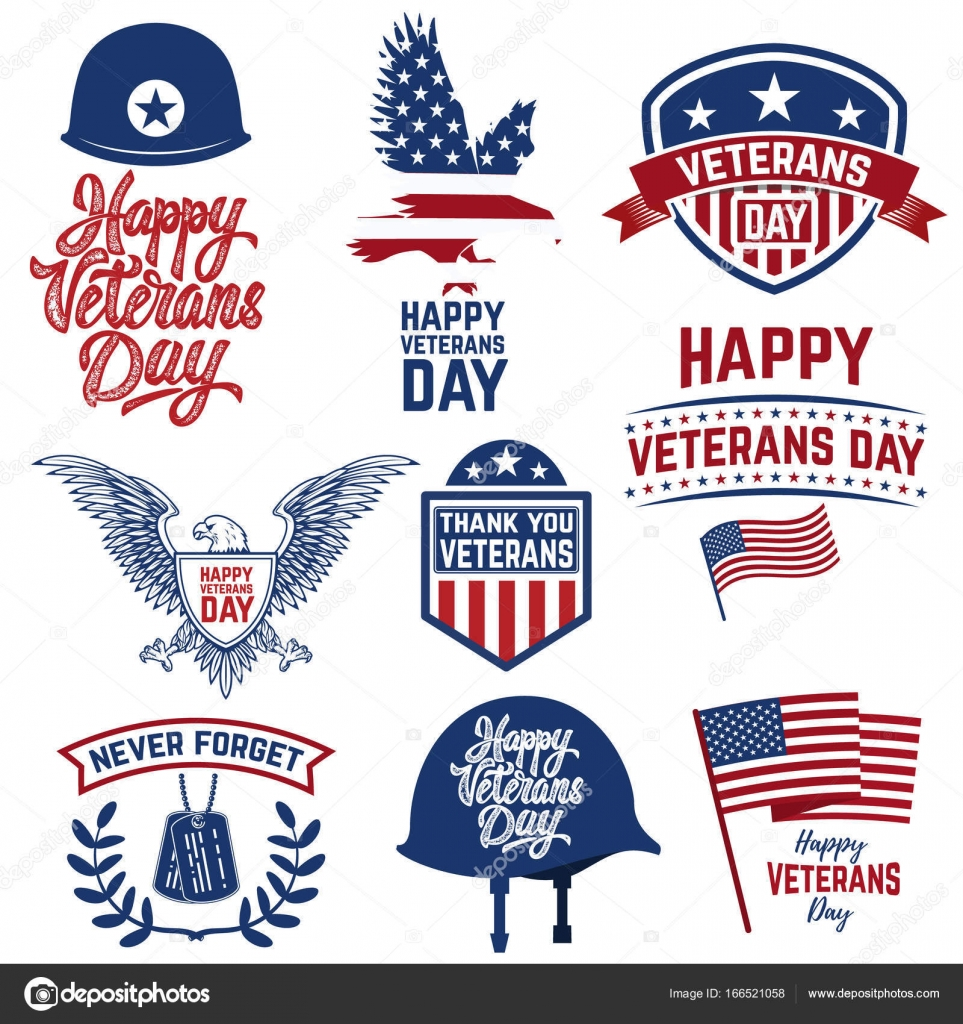 Set of happy veterans day emblems emblems with american flags set of happy veterans day emblems emblems with american flags stock vector biocorpaavc