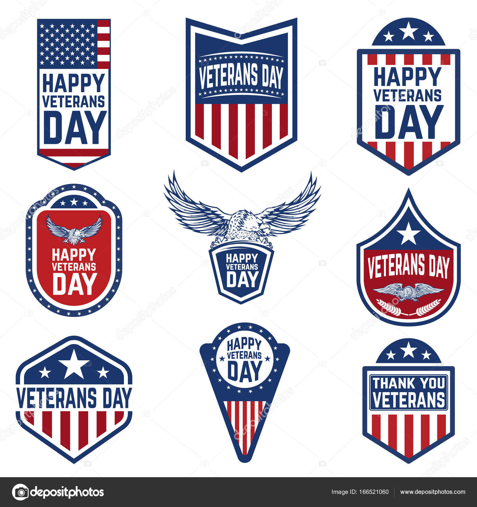 Set of veterans day emblems usa culture stock vector art li set of veterans day emblems usa culture stock vector biocorpaavc