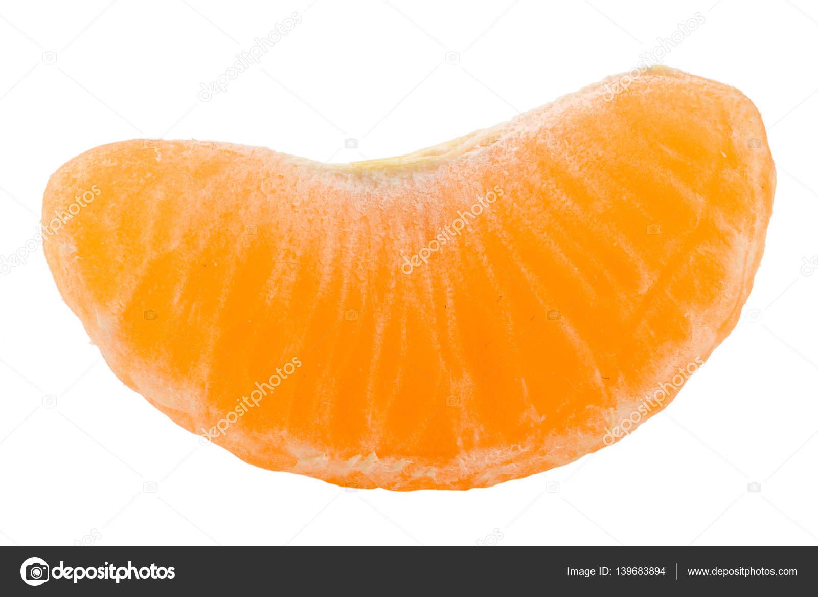 Slice Of Tangerine Isolated On White Background Stock Photo
