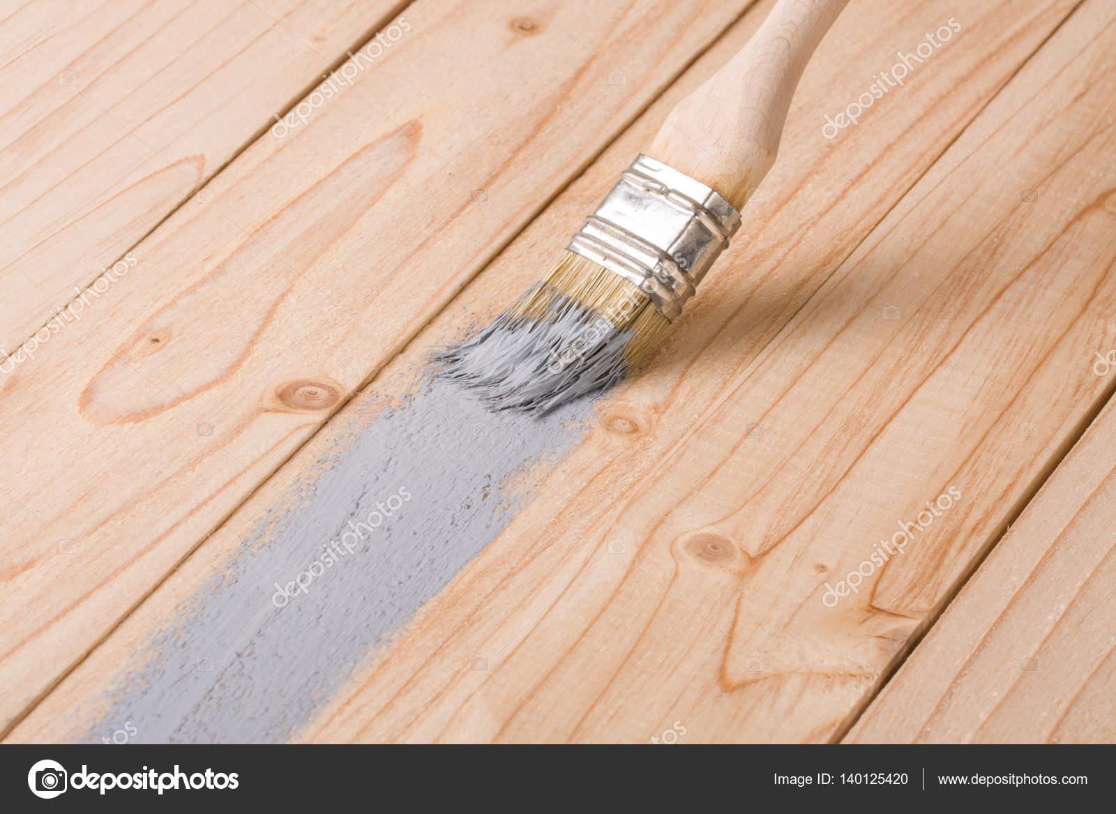 Colori Vernici Legno : Bordo di legno vernice spazzola grigio colore della pittura u2014 foto
