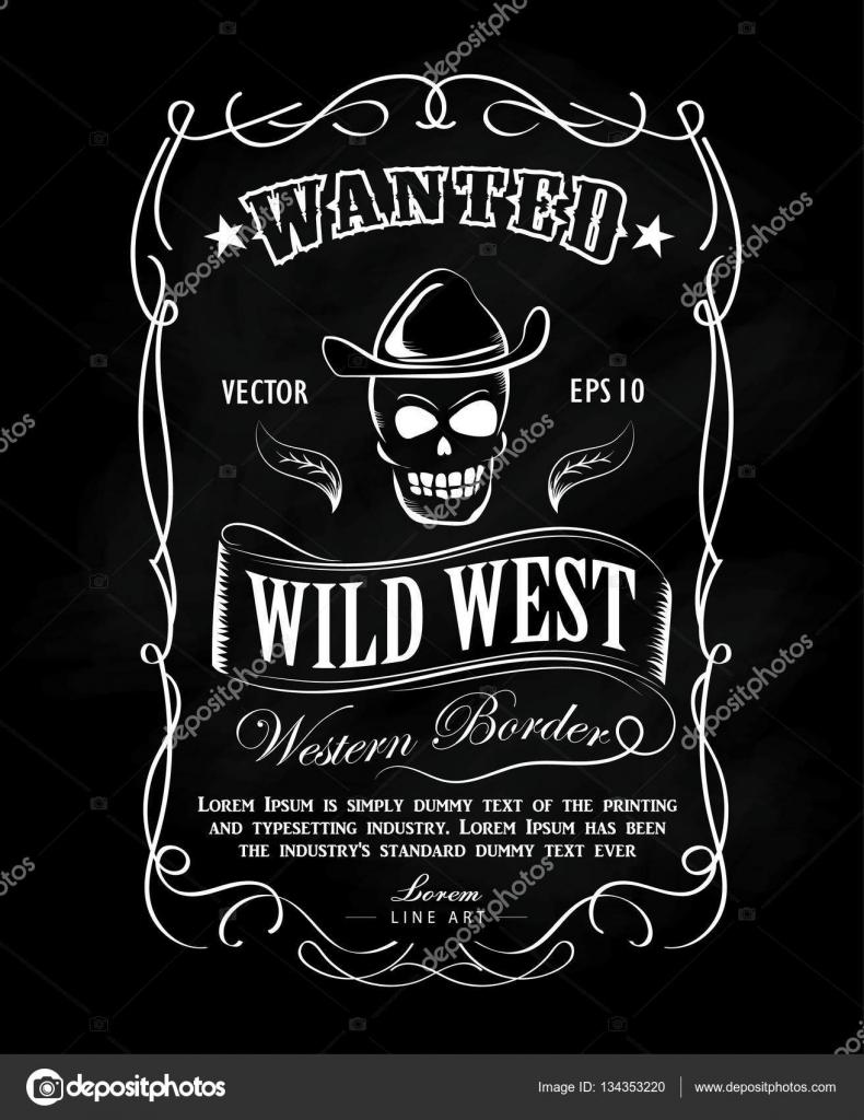 Vector de frontera occidental dibujado de marco Vintage etiqueta ...