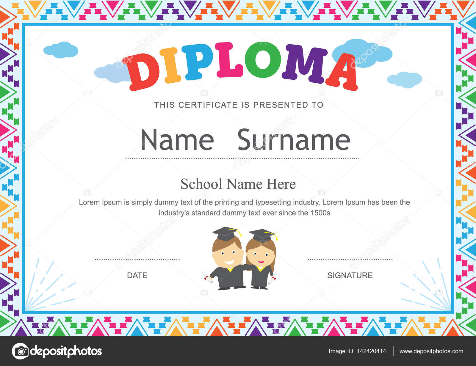 elementary graduation certificates. Black Bedroom Furniture Sets. Home Design Ideas