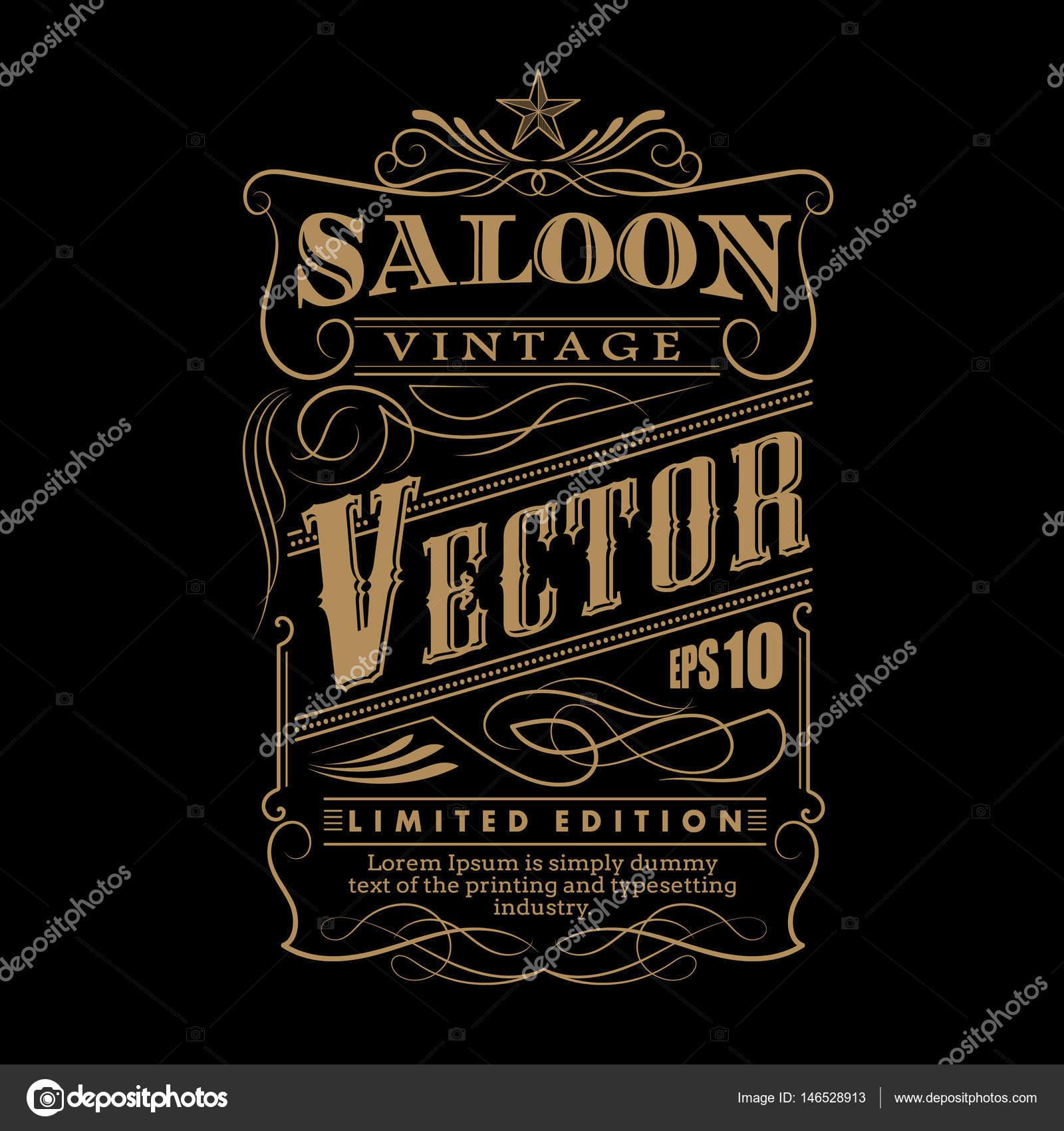 Occidental dibujado a mano marco etiqueta frontera vintage vector ...