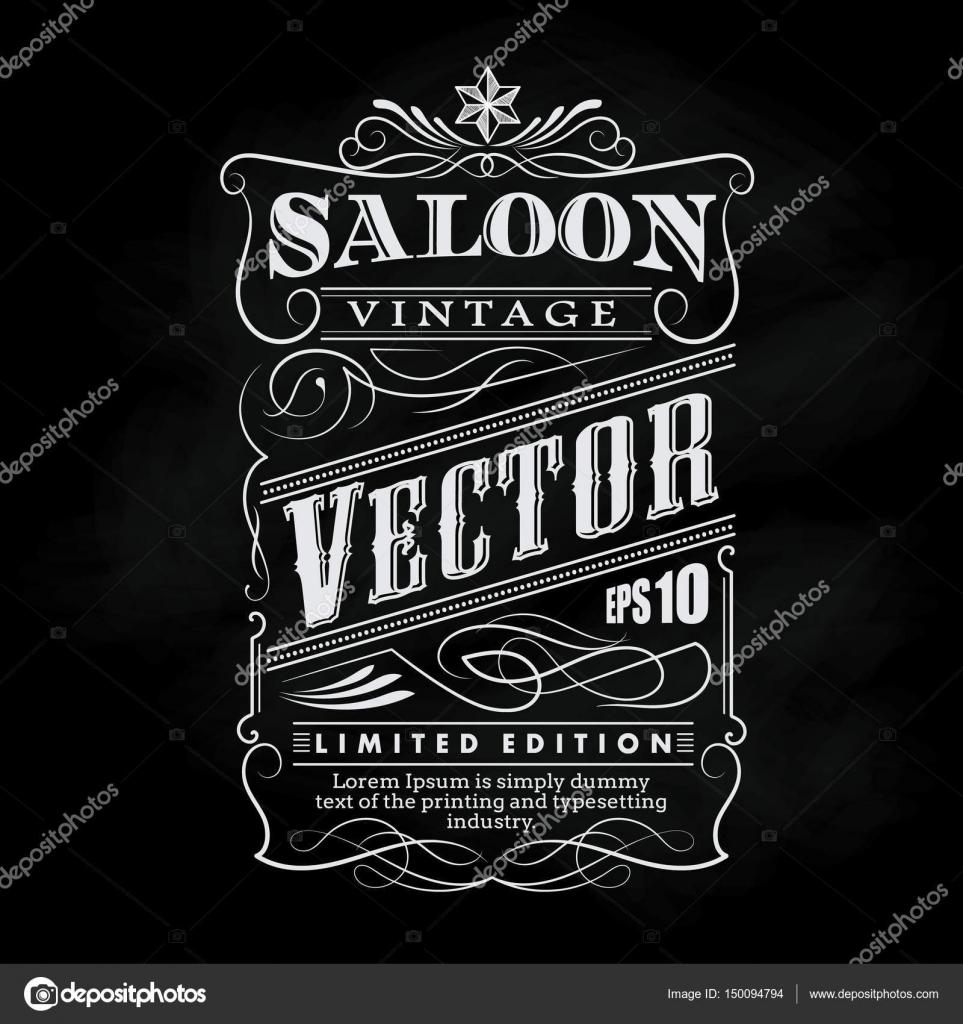 Occidental dibujado a mano marco etiqueta pizarra tipografía ...