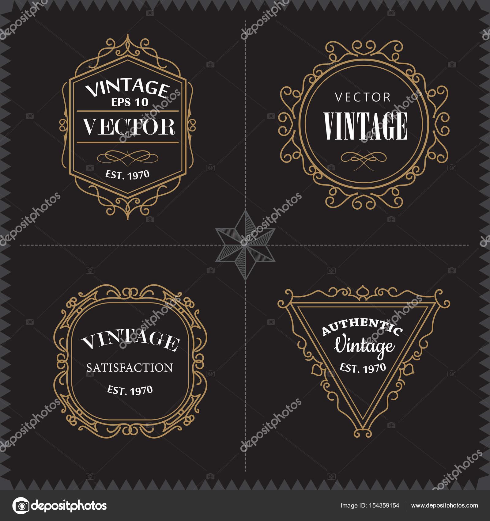 Luxury Logos Set template vintage badge frame flourishes elegant ...