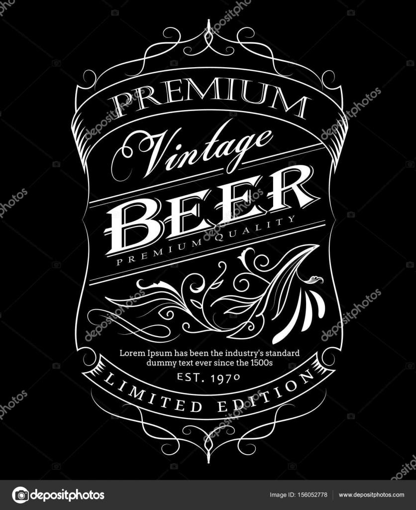 Dibujado de mano occidental de la etiqueta de cerveza frontera de ...