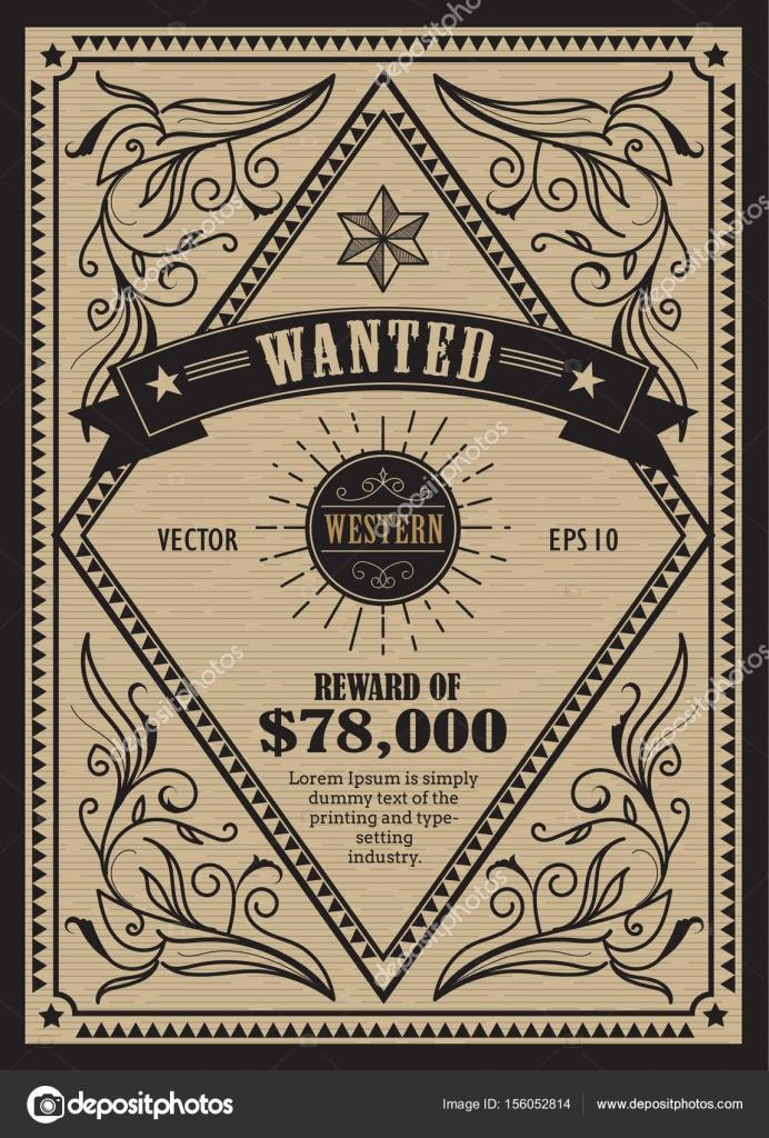 Etiqueta antigua occidental marco vintage querido vect dibujado a ...