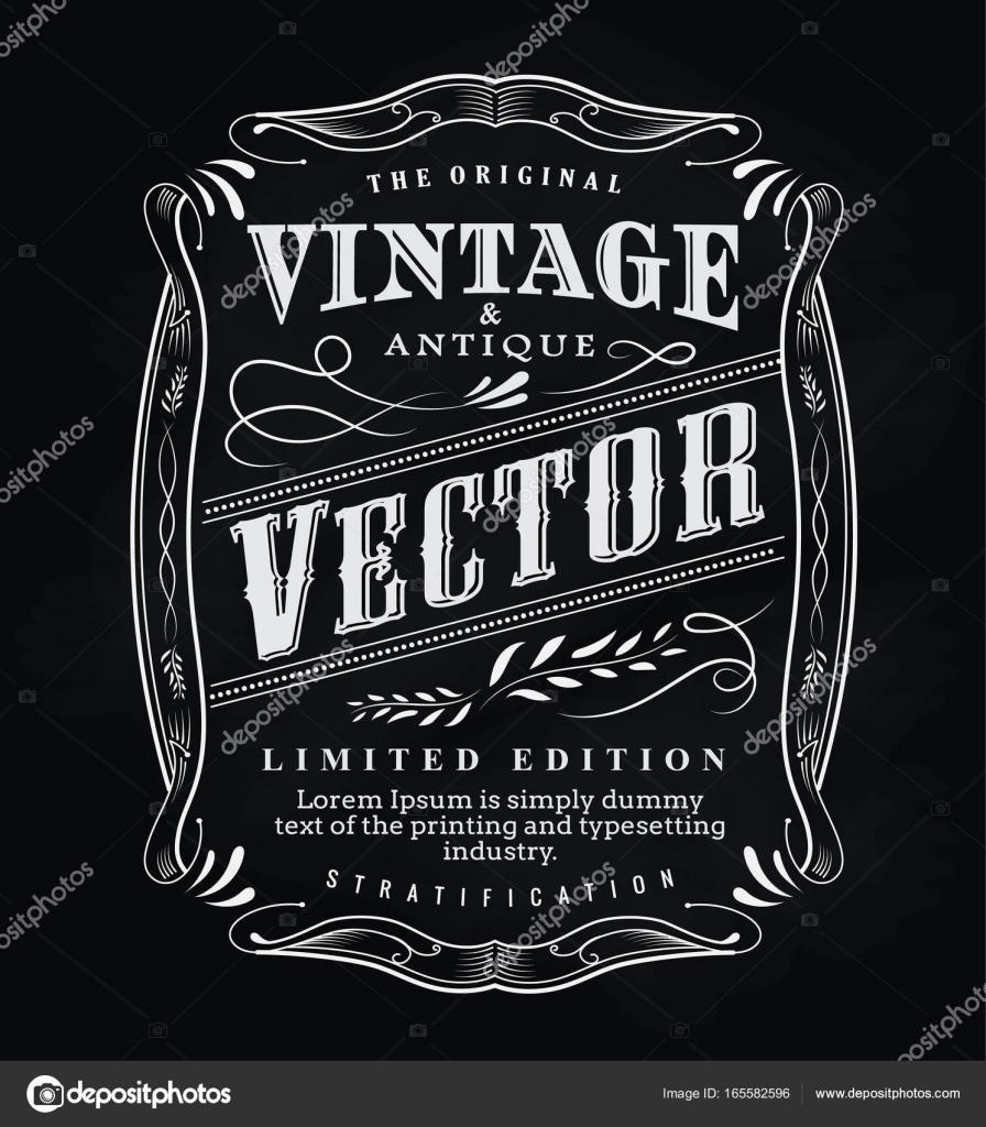 Western Hand Drawn Frame Label Blackboard Antique Typography Border Vintage Vector Illustration By Nimaxs
