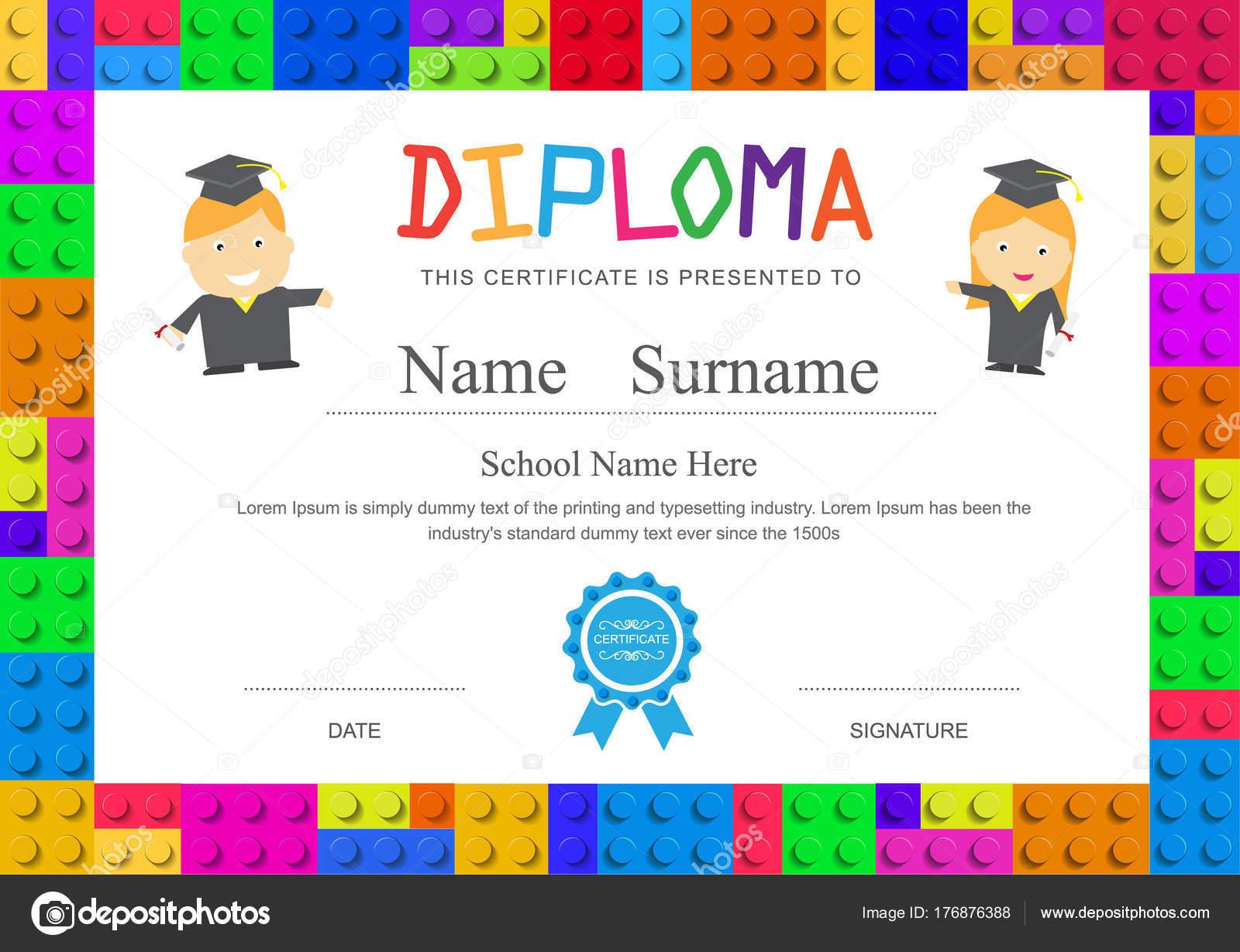 Kinder Diplom Vorschule Grundschule Design Zertifikat zurück ...