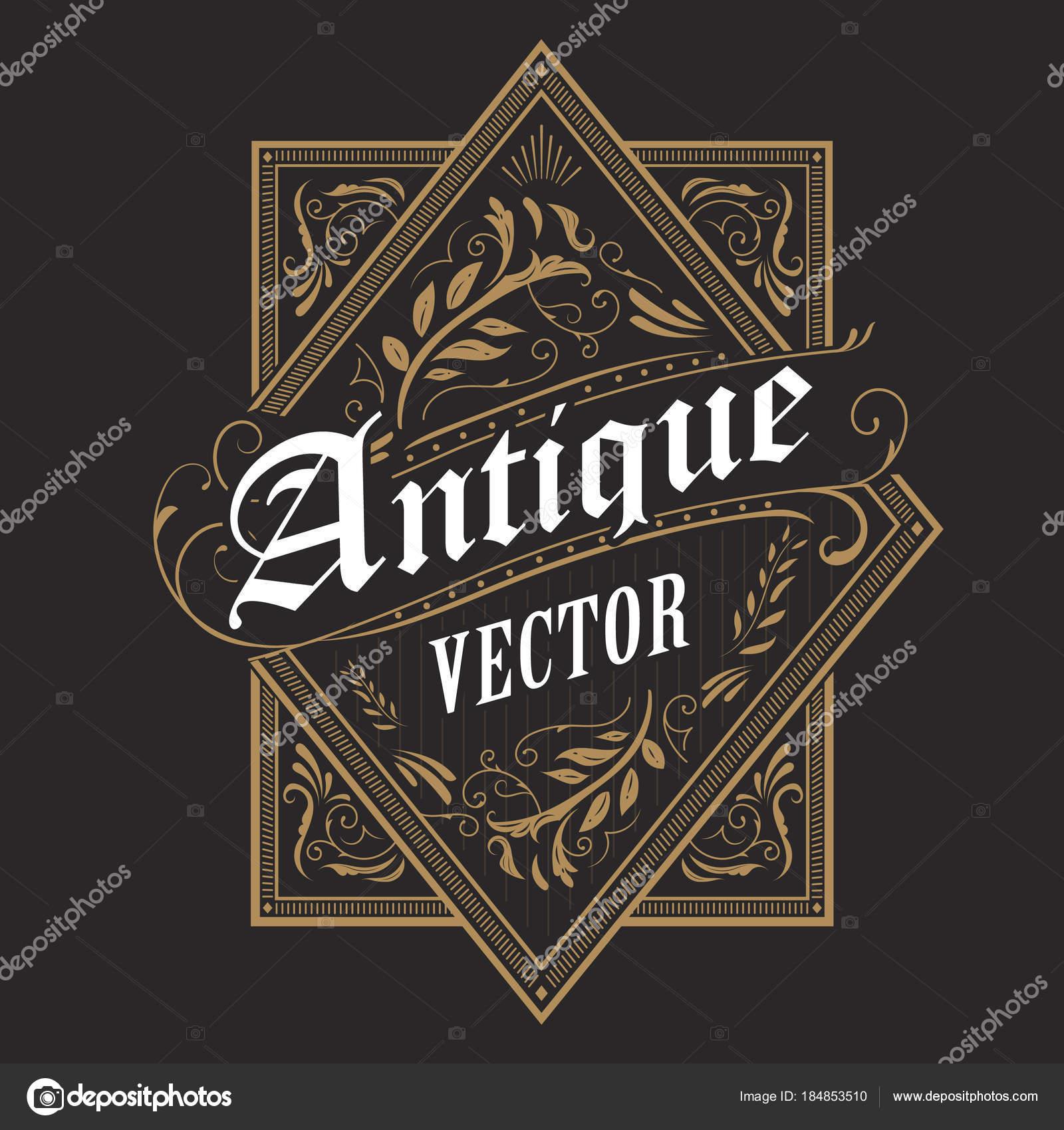 Antigua frontera occidental marco etiqueta vintage mano dibujado ...