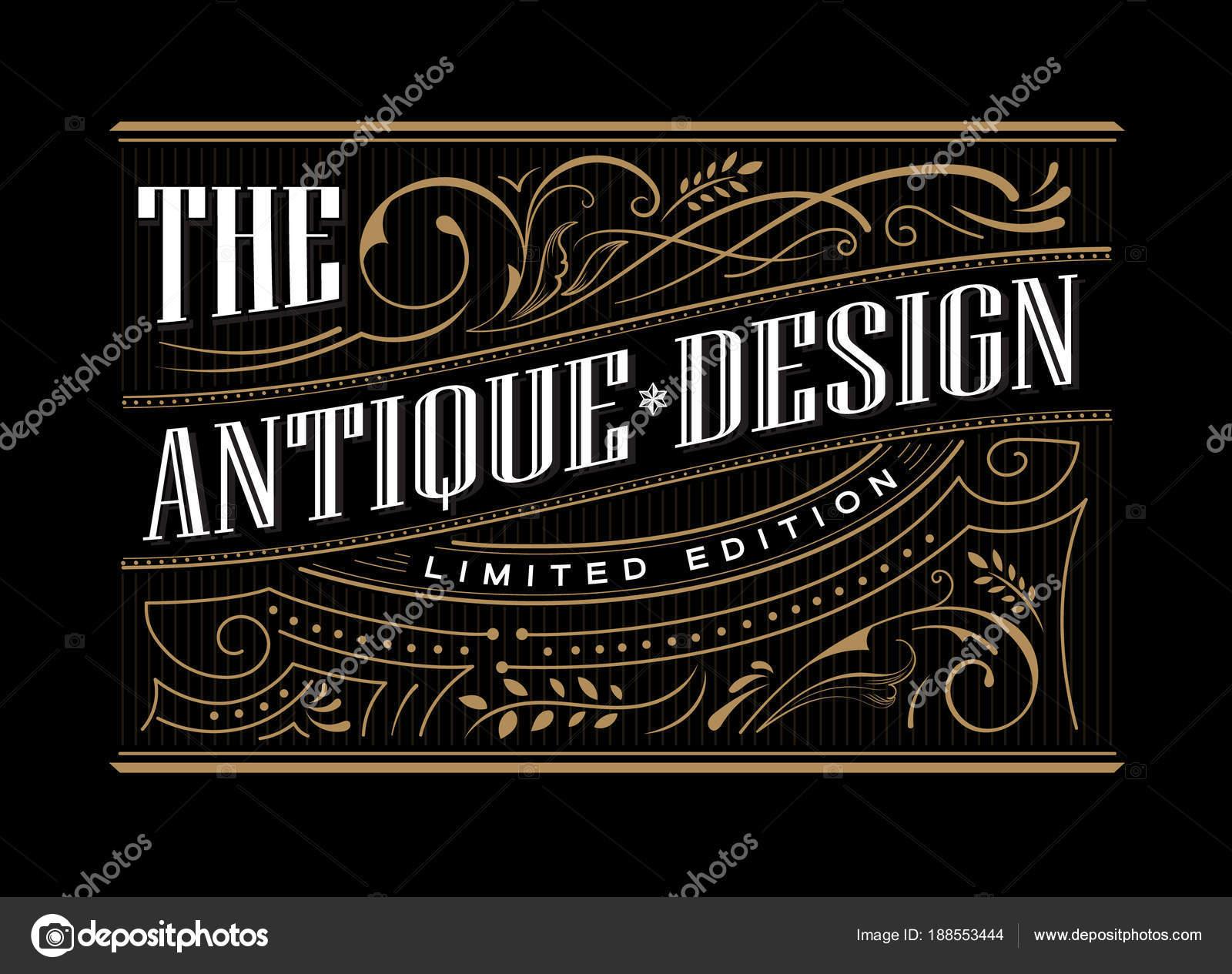 Marco antiguo etiqueta occidental mano dibujado frontera tipografía ...