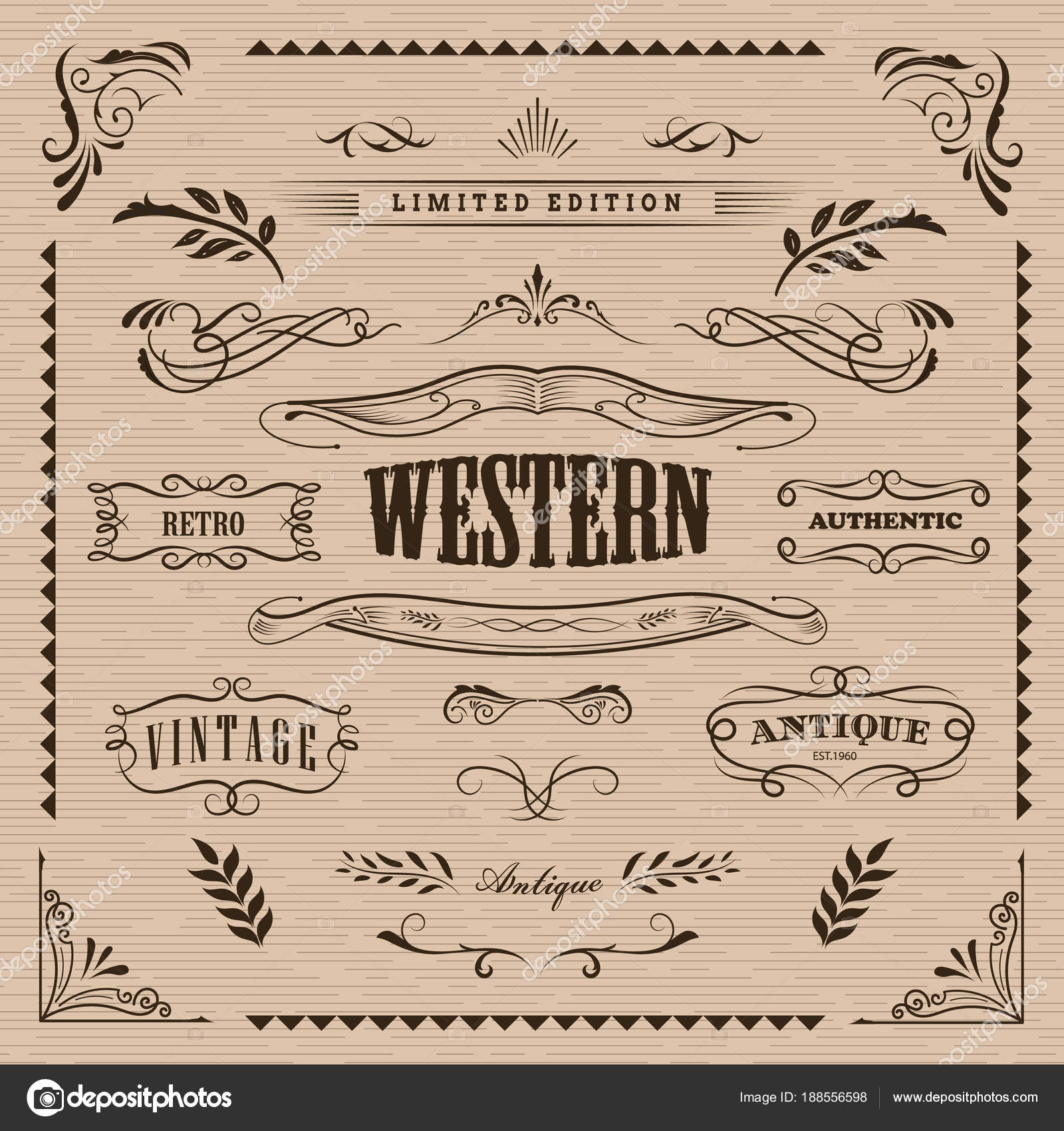Western frame hand drawn banners vintage badge vector — Stock Vector ...