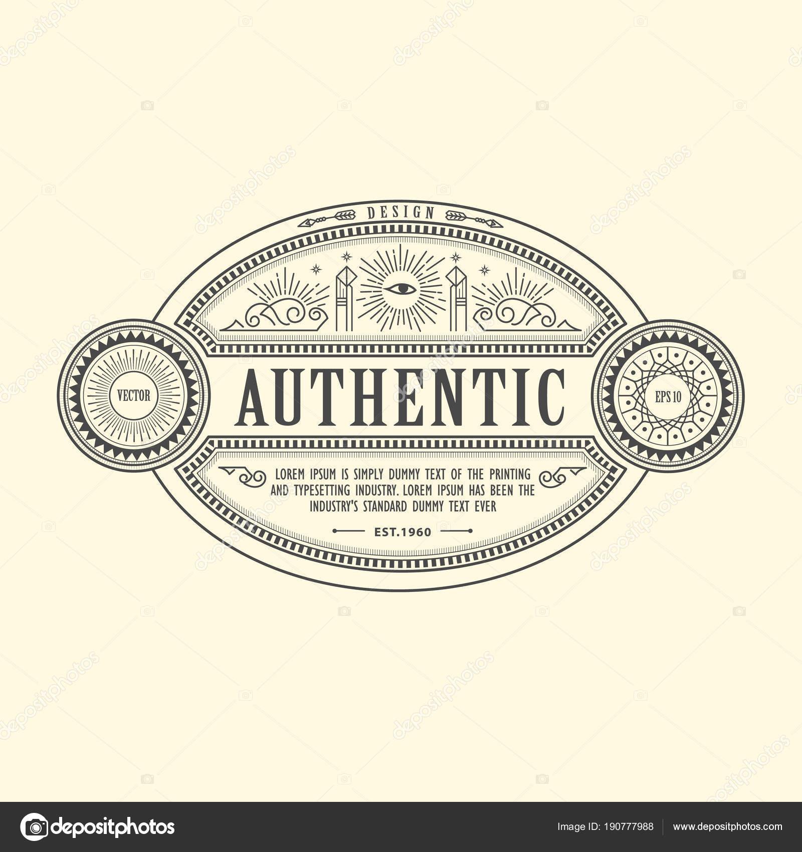 Art Deco antique frame vintage border western label hand drawn e ...