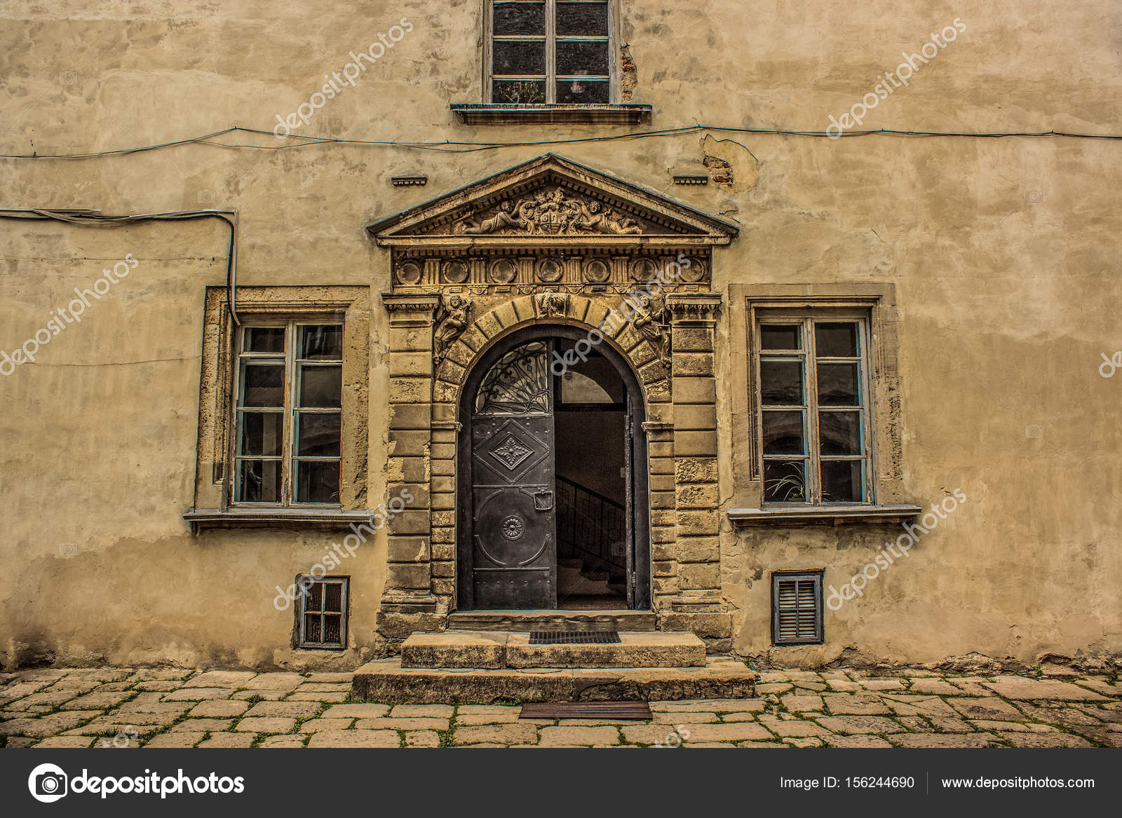 Old castle facade with doors and windows for background u2014 Stock Photo & old castle facade with doors and windows for background u2014 Stock ...