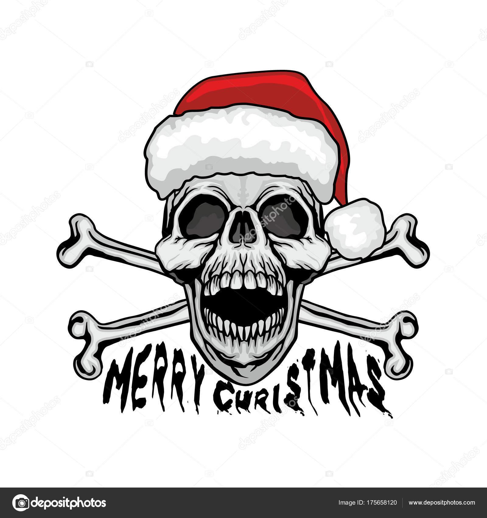 Weihnachten Schädel Gotische Wappen Mit Totenkopf Grunge Vintage ...