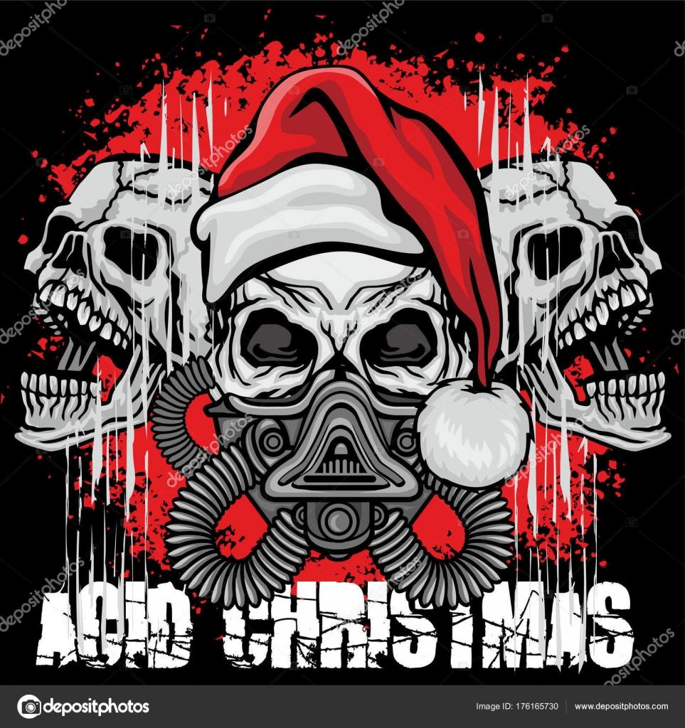 Weihnachten Schädel Grunge Vintage Design Shirts — Stockvektor ...