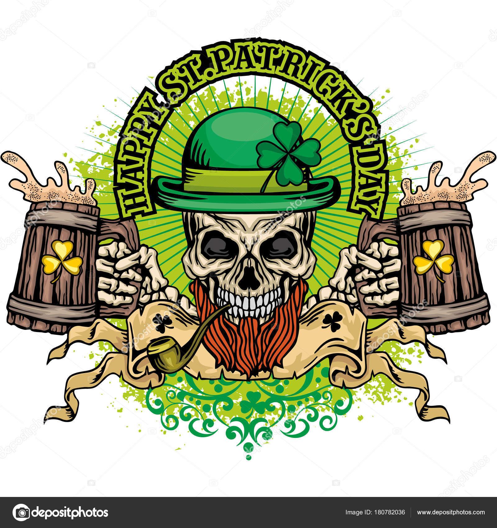 9213246c Irish Coat Arms Skull Clover Grunge Vintage Design Shirts — Stock Vector