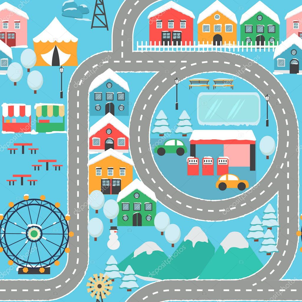 Winter snowy city car track seamless pattern