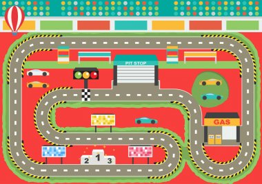 Sport car racing track play placemat
