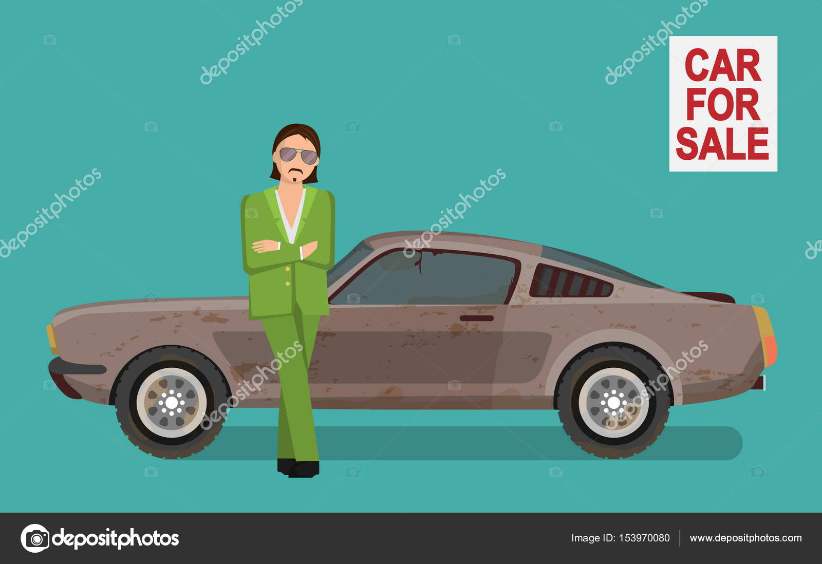 Sneaky tough guy selling old used car on car sale market. — Stock ...