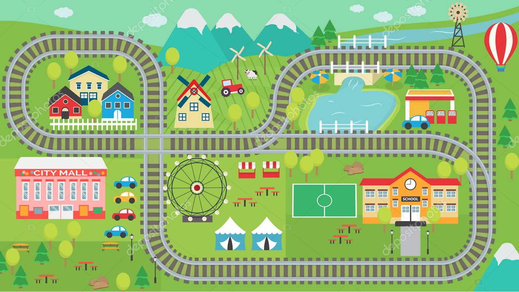 Train track play placemat HD