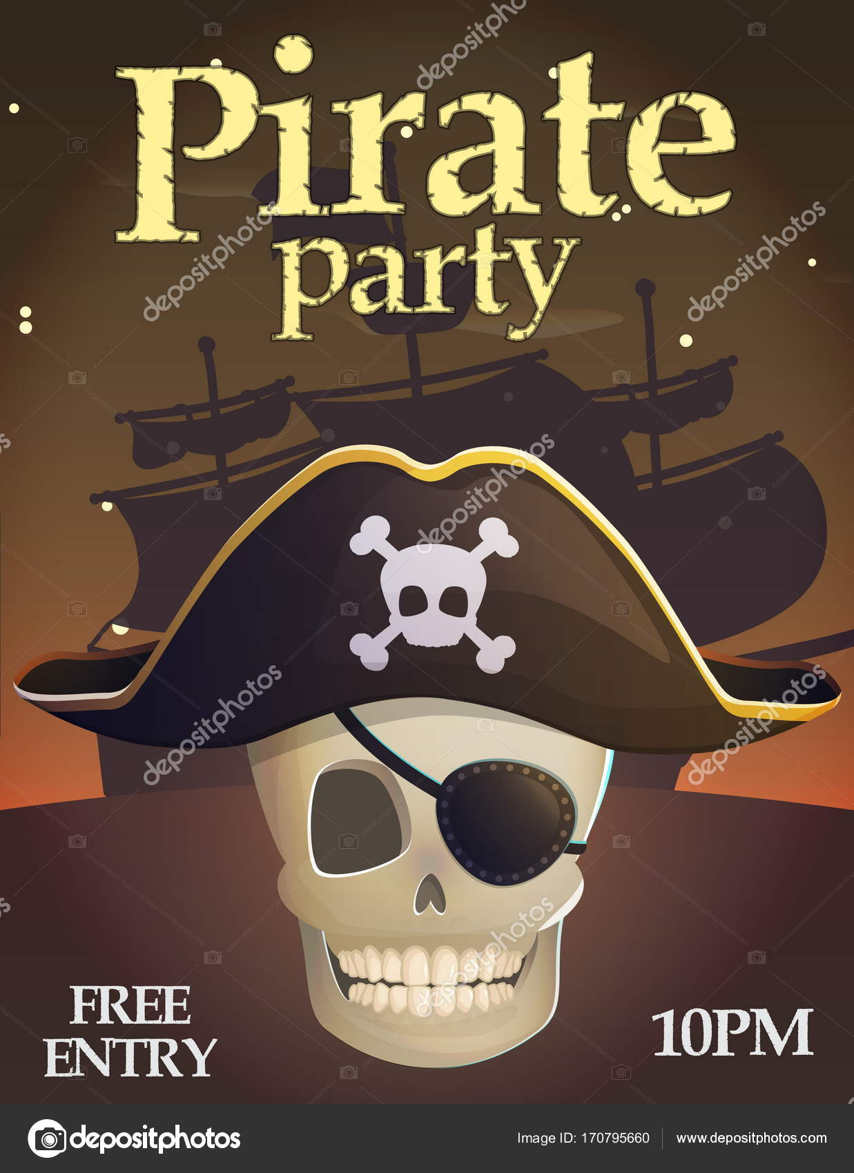Pirate Party Einladung Vorlage U2014 Stockvektor