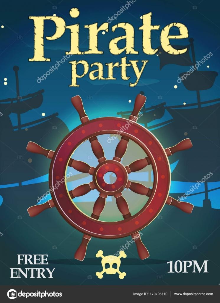 Plantilla de invitación fiesta pirata — Vector de stock © Medeja ...