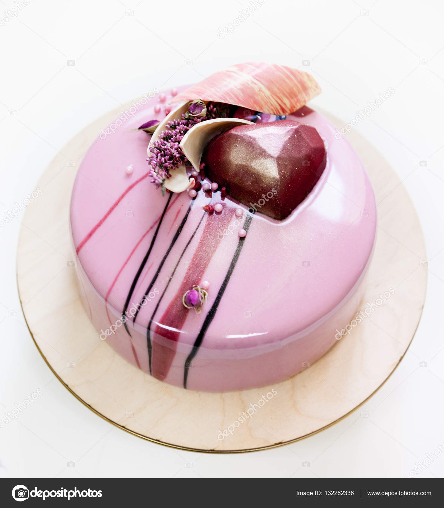 Minimalistic Pink Mousse Cake With Coated With Mirror Glaze On A