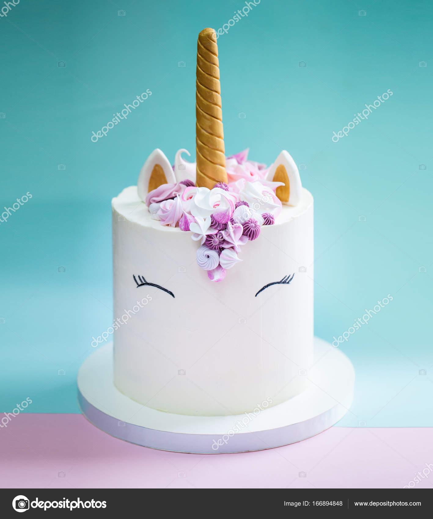 Einhorn Mädchen Geburtstagskuchen Stockfoto Antoninalatayko