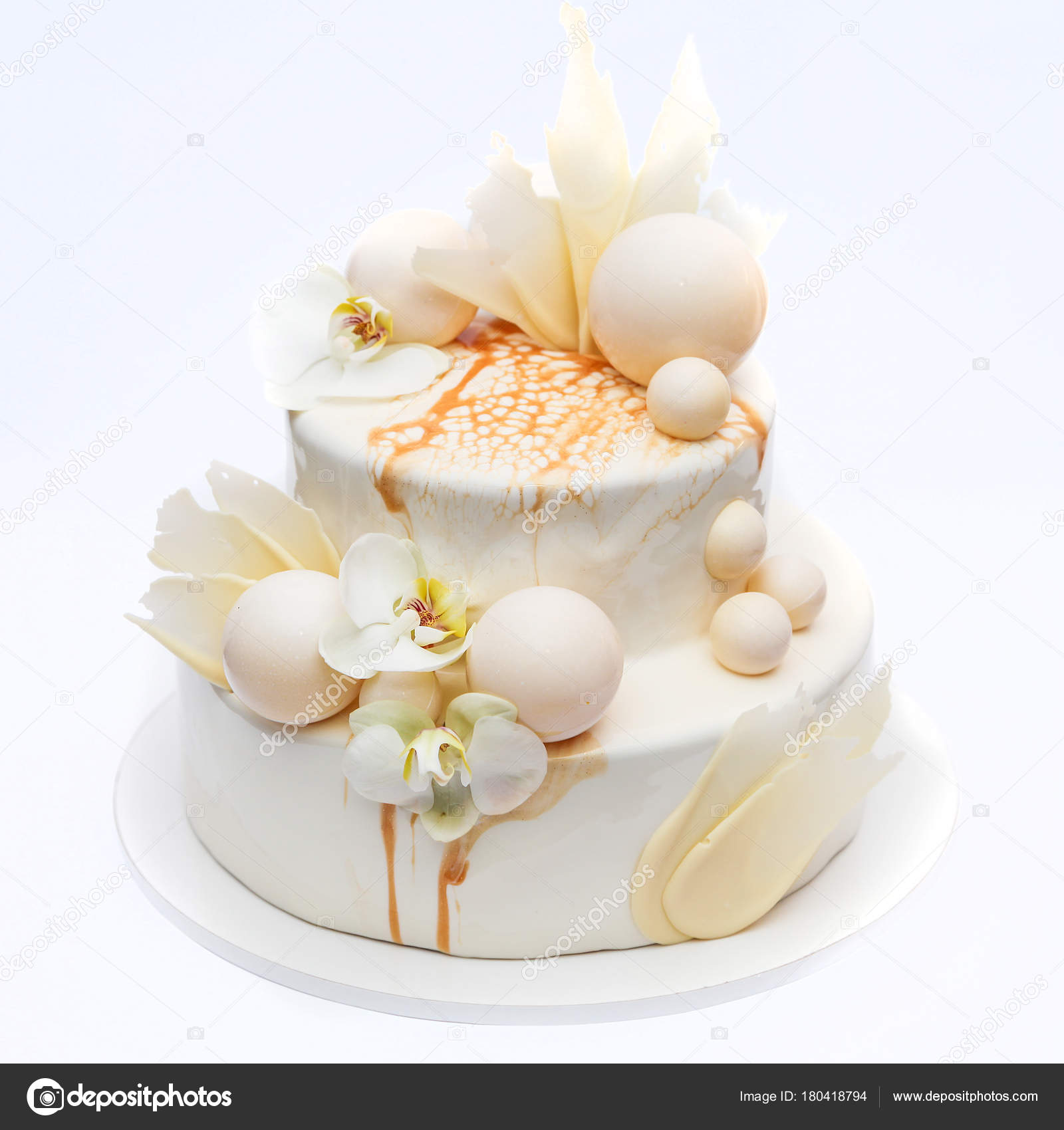 White Wedding Cake Decorated Chocolate Balls Fresh Orchids — Stock ...