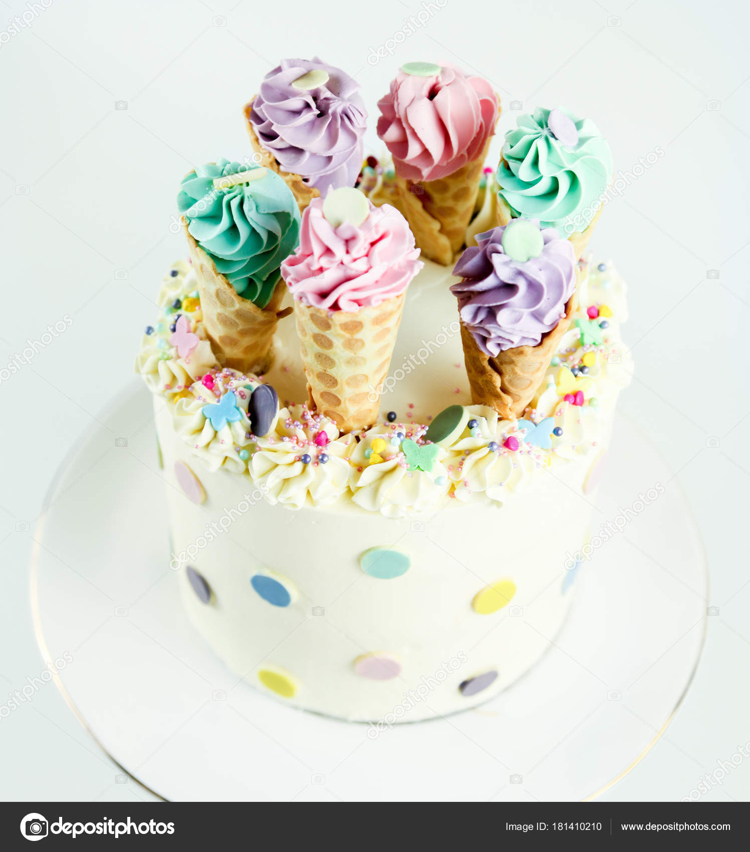 Birthday Ice Cream Cone Cake On A White Background Stock Image