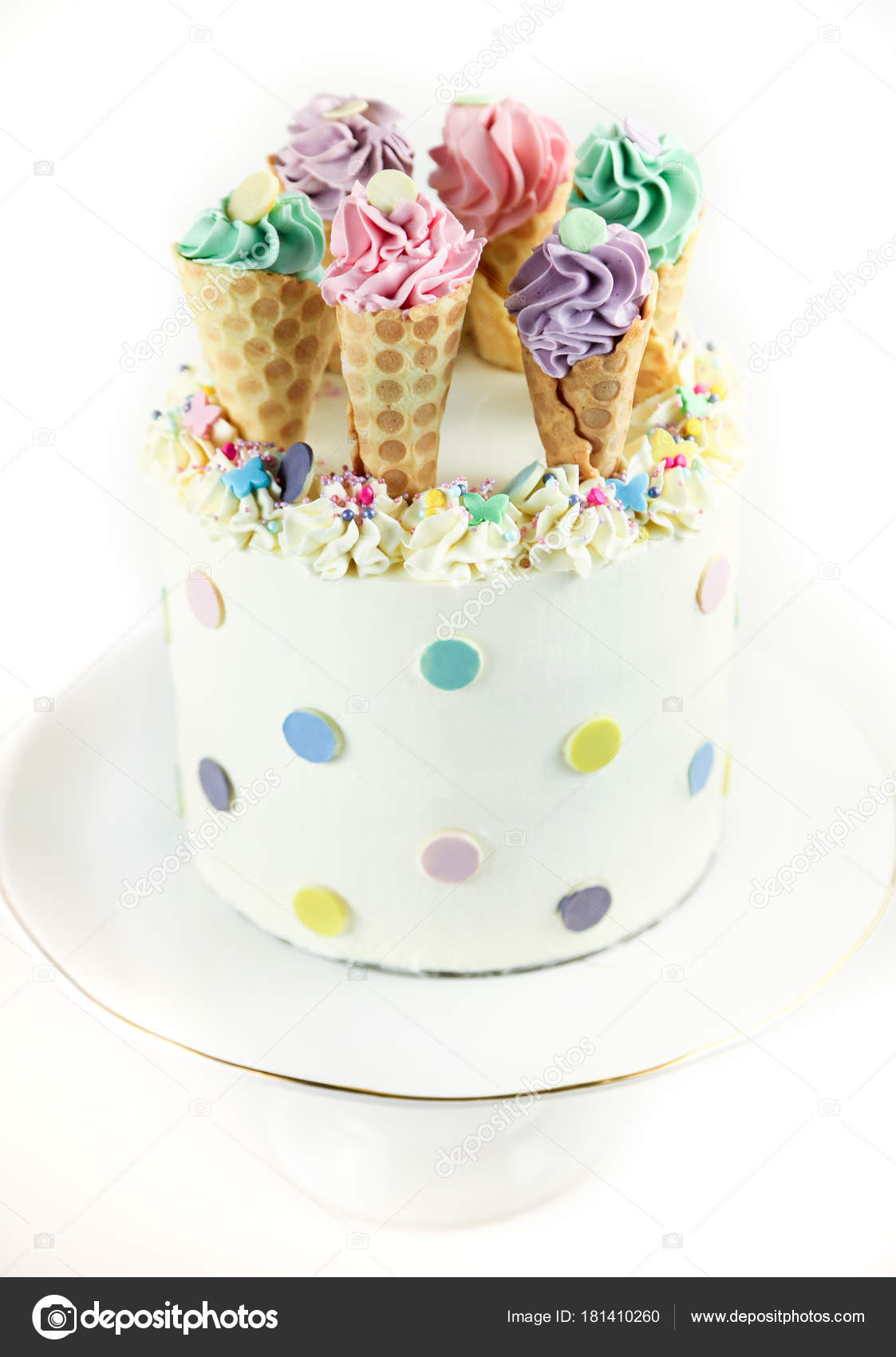 Birthday Ice Cream Cone Cake On A White Background Photo By Antoninalataykogmail