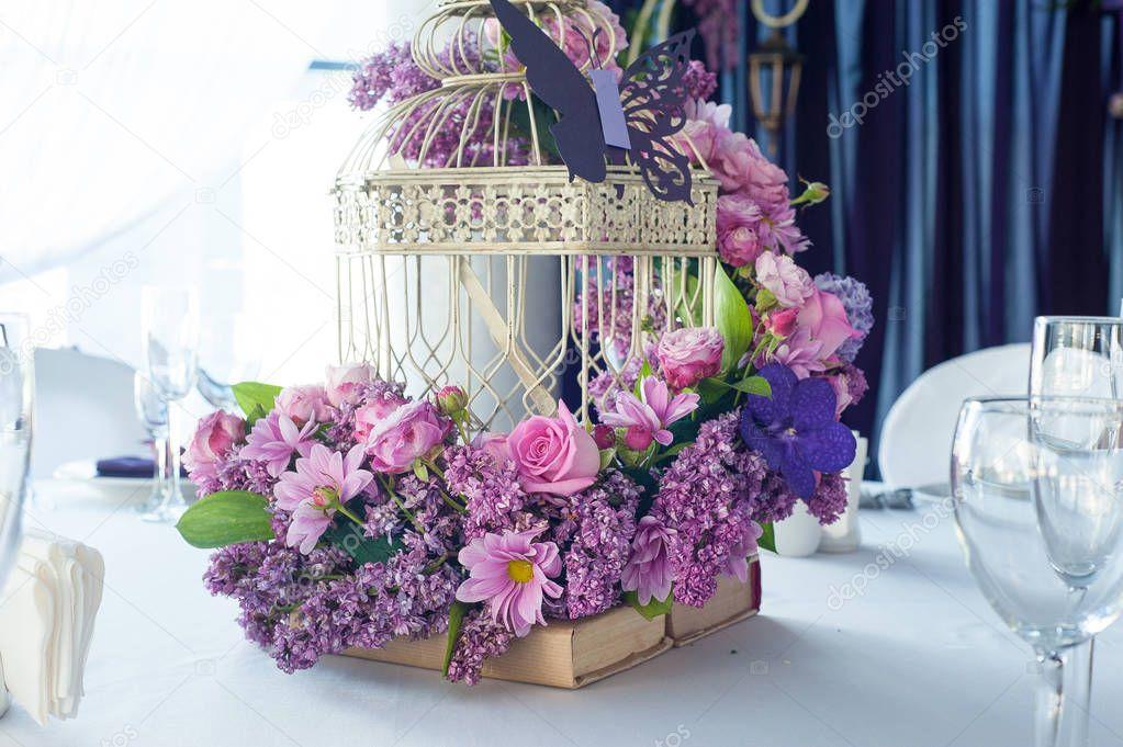 Festliche Tischdekoration Im Restaurant Mit Blumen Hochzeit