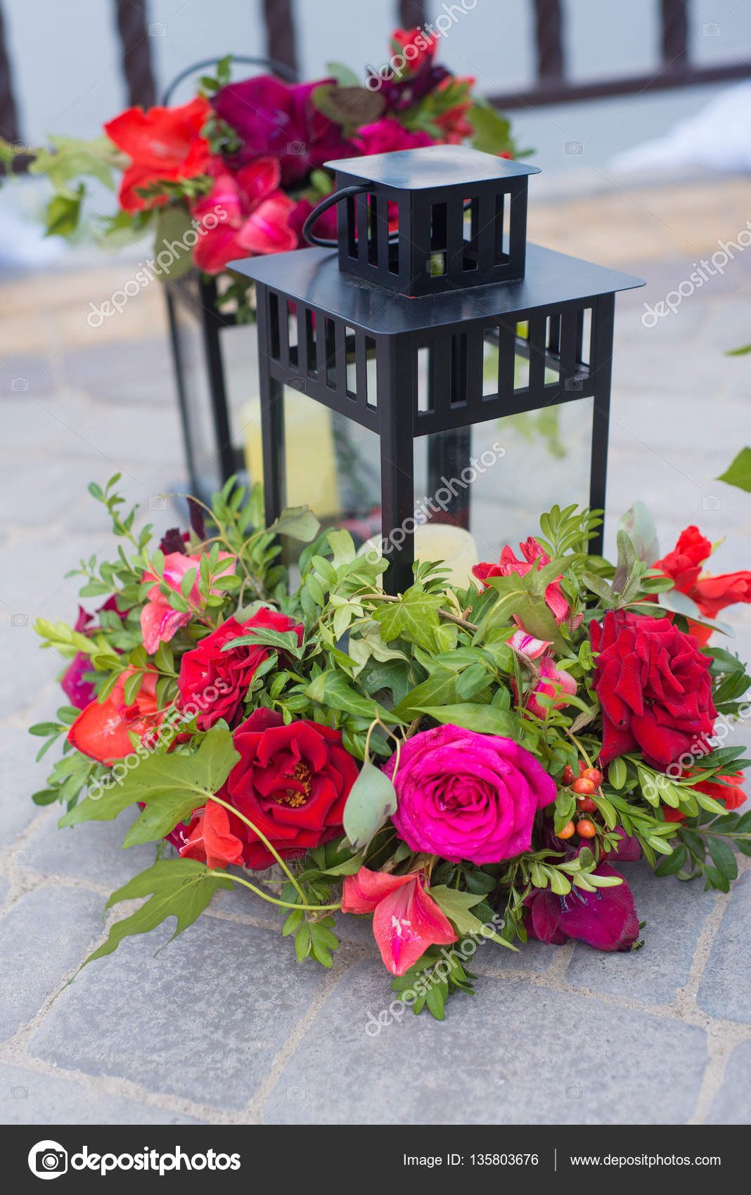 Wunderschon Dekoriert Im Freien Hangenden Laterne Hochzeit