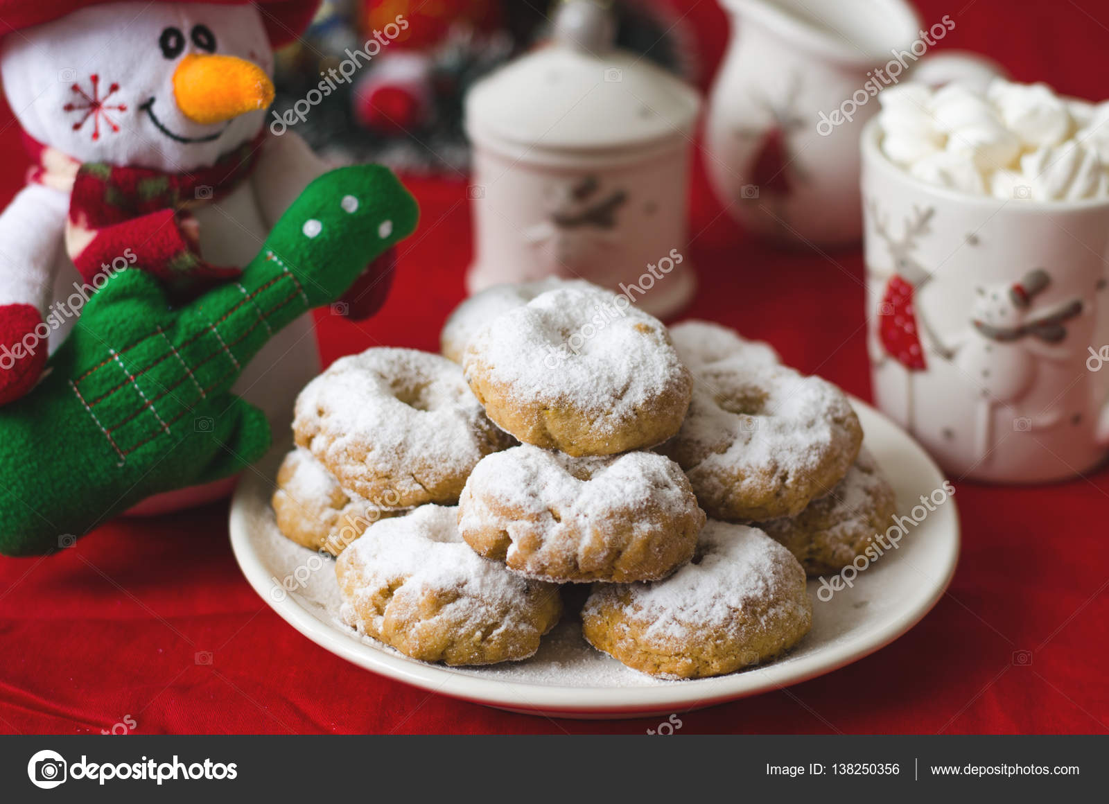 Traditional Spanish Christmas Cookies Wine Ring In Powdered Sugar