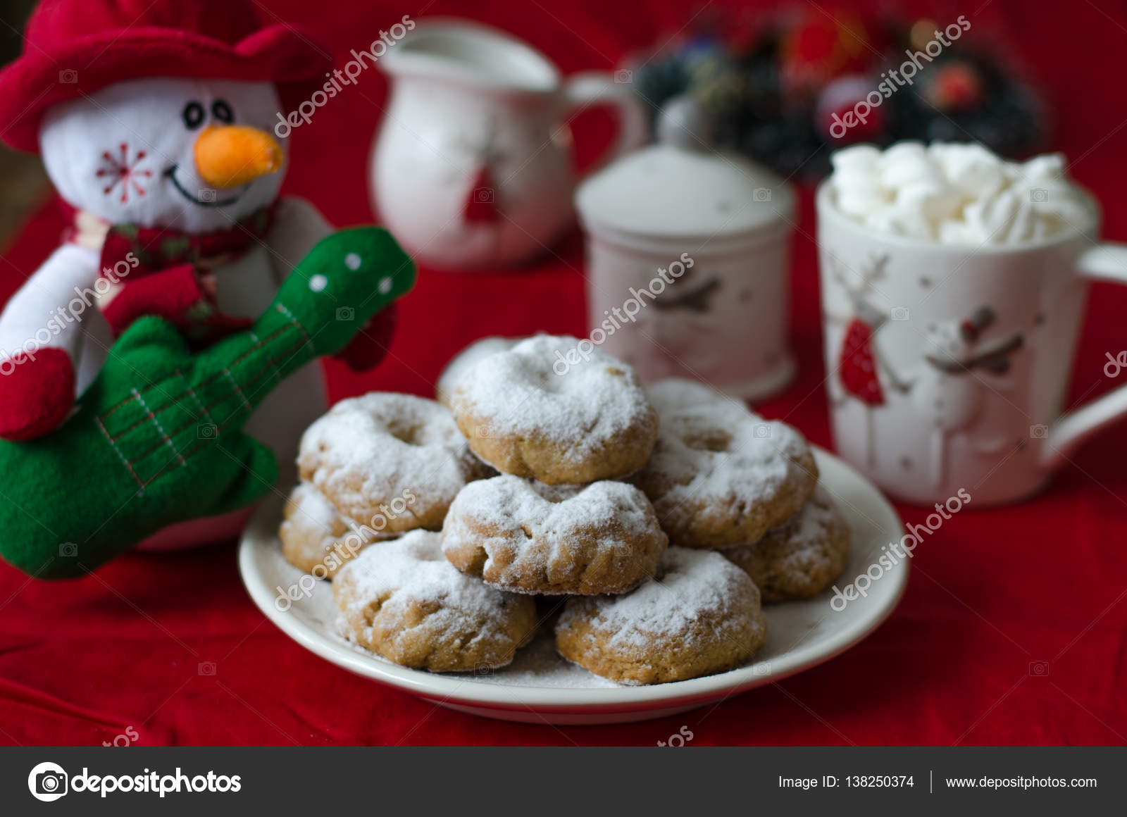 Traditional Spanish Christmas Cookies Wine Ring In Powdered Suga