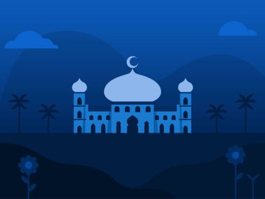 Mosque Background Illustration In Blue Tone
