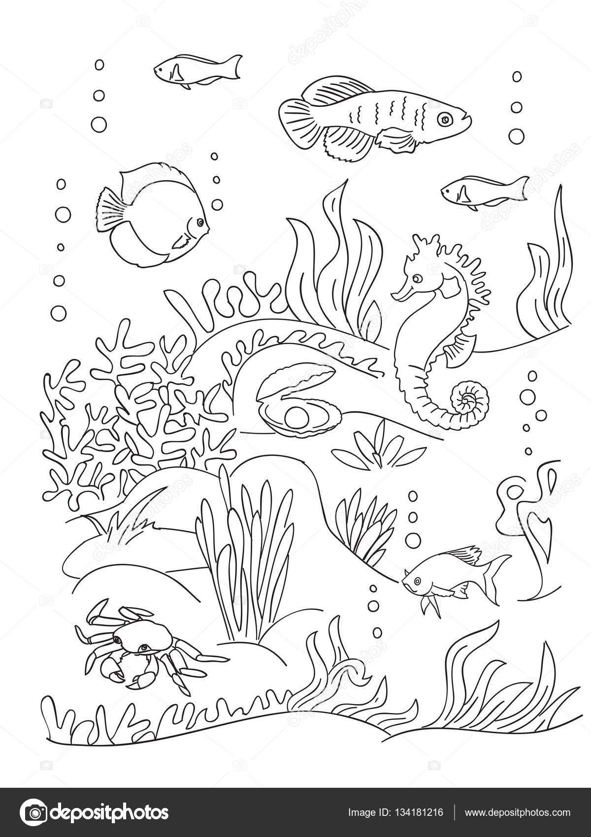 Página de libro para colorear del fondo del mar — Archivo Imágenes ...