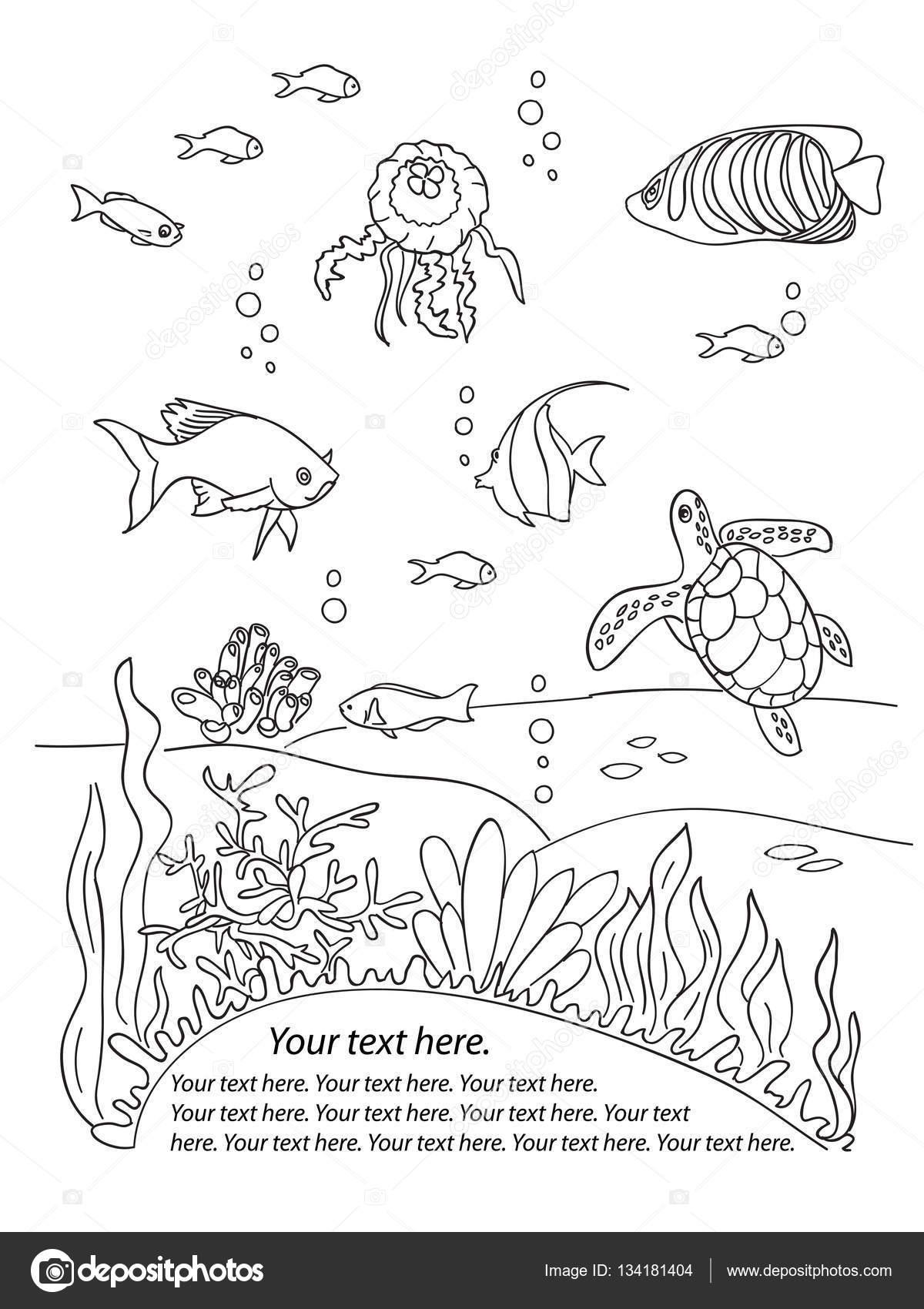 Marco inferior del océano — Archivo Imágenes Vectoriales ...