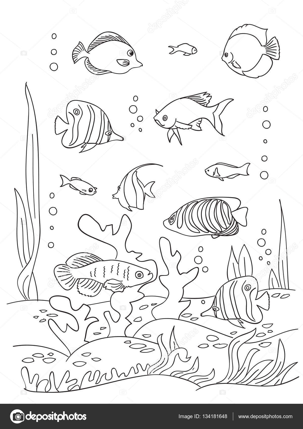 Página de libro para colorear del mar — Vector de stock ...