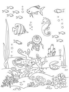 Ocean bottom sketch.
