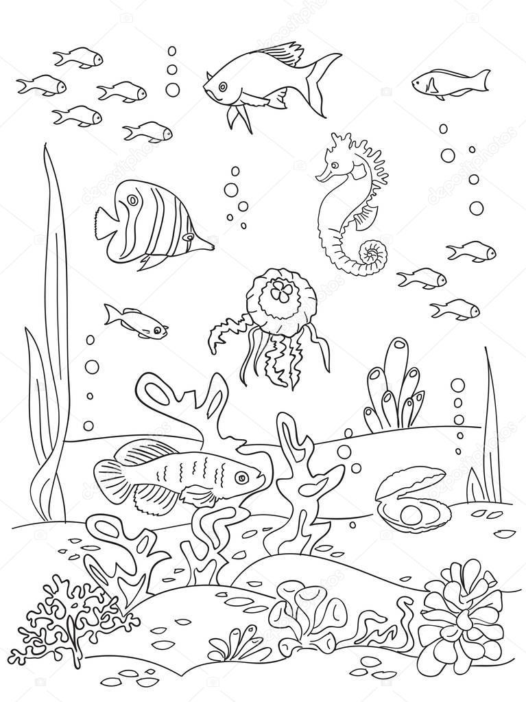 Рисунок морского дна Эскиз дна океана Векторное
