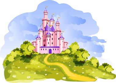 The vector illustration of tale princess castle at a Dreamland. stock vector