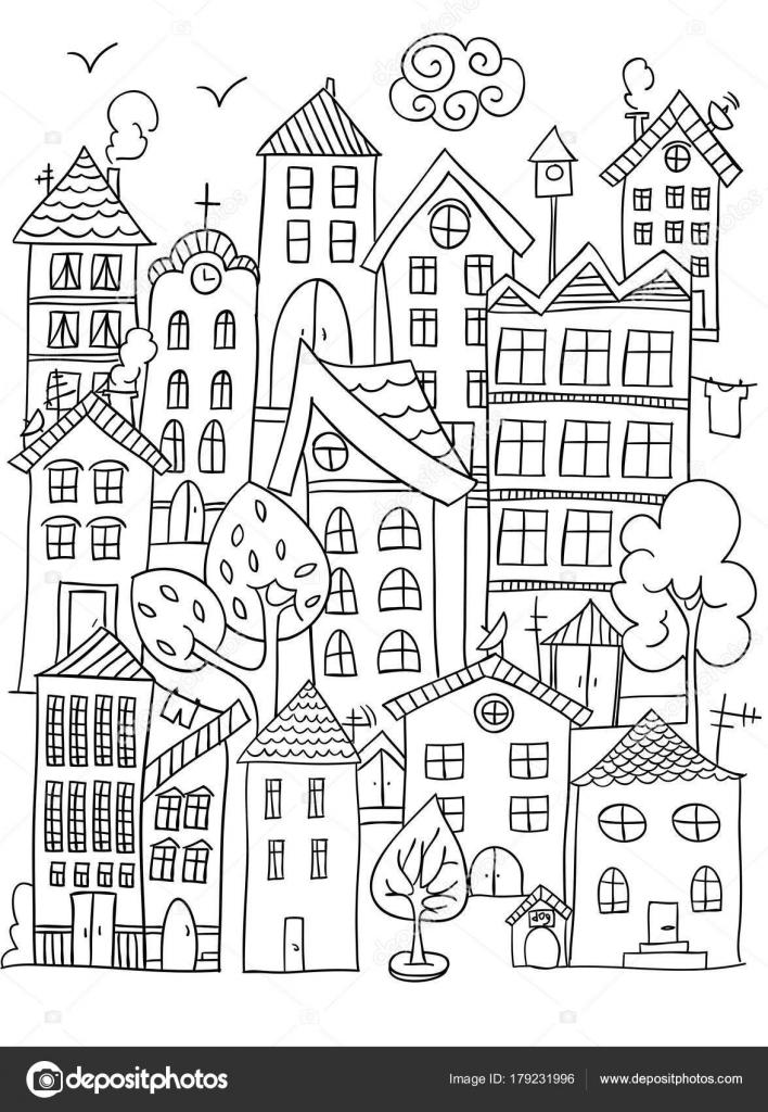 City Coloring Page Stock Vector C Nataliebakunina 179231996