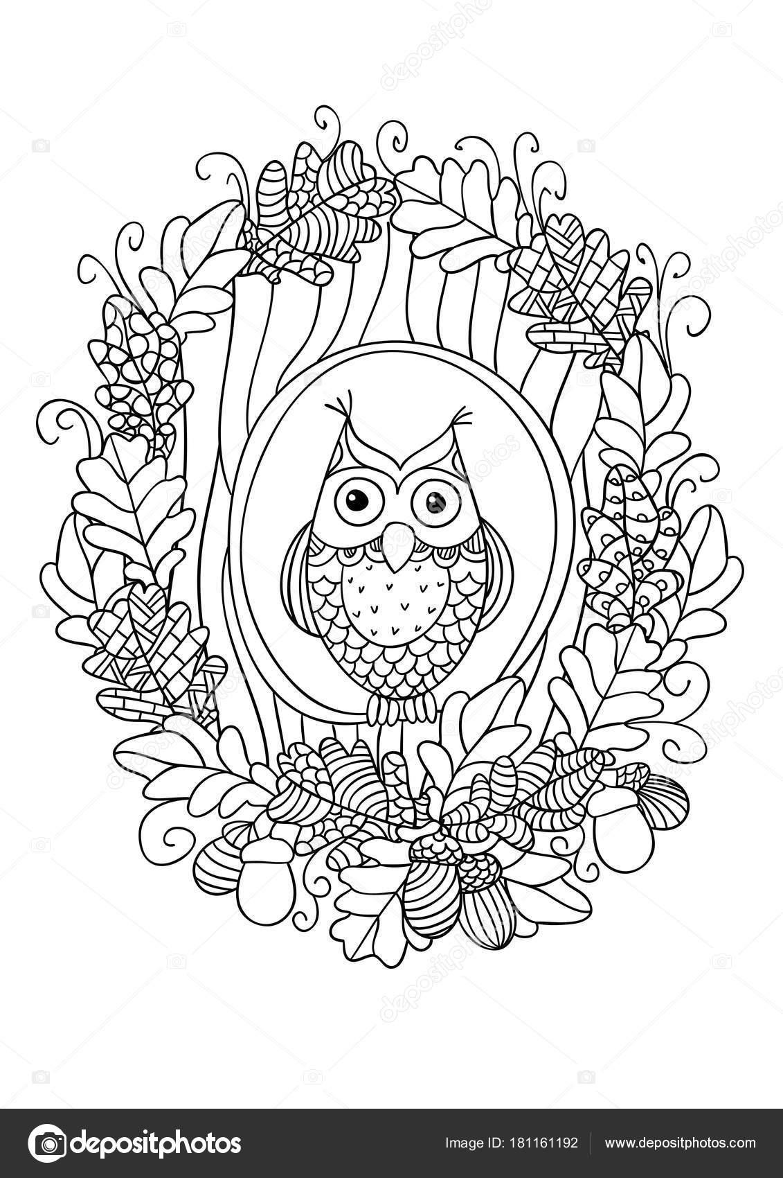 Eule In Den Hohlen Baum Stockvektor Nataliebakunina 181161192
