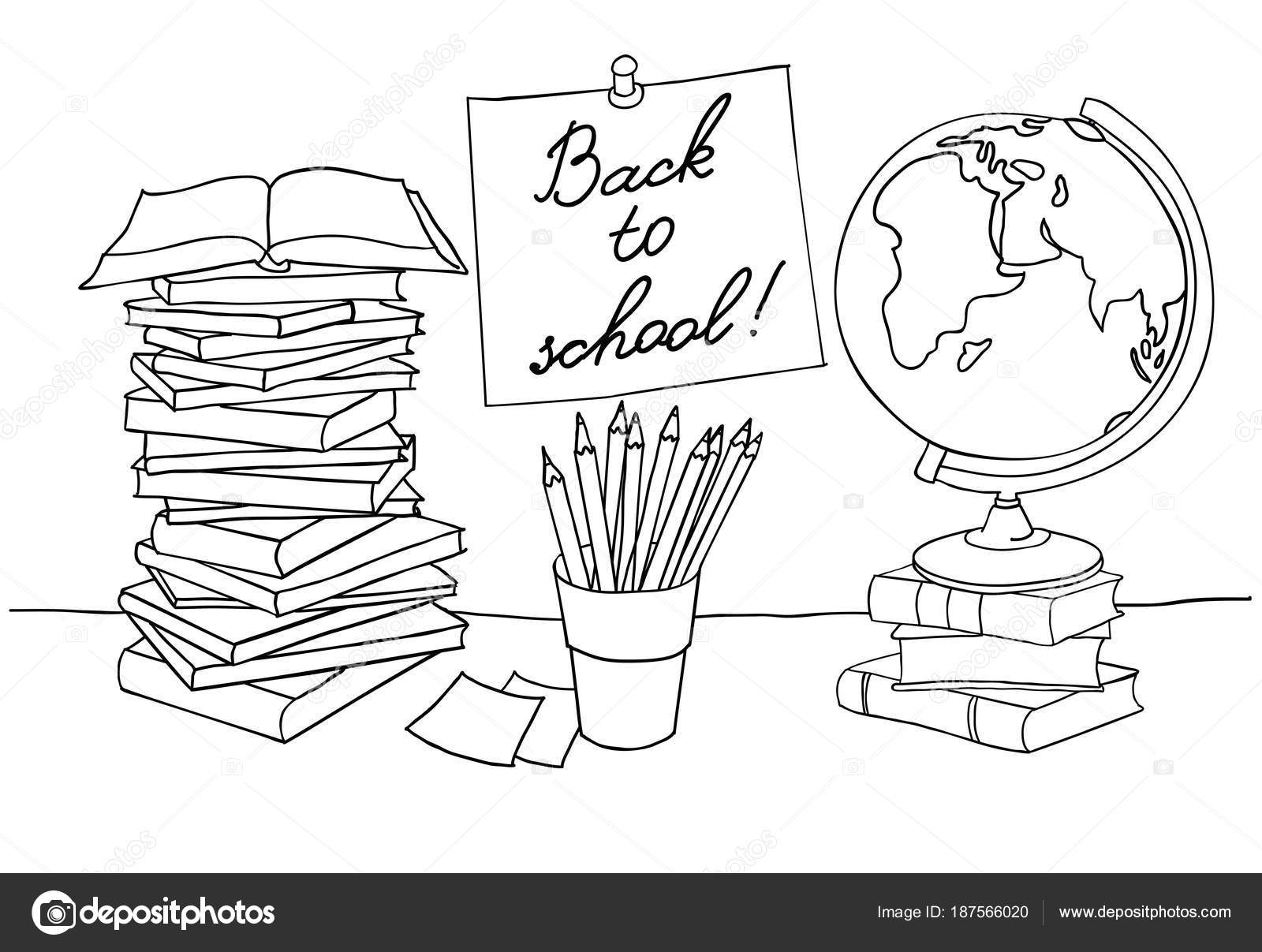 Página, regreso a la escuela para colorear — Archivo Imágenes ...