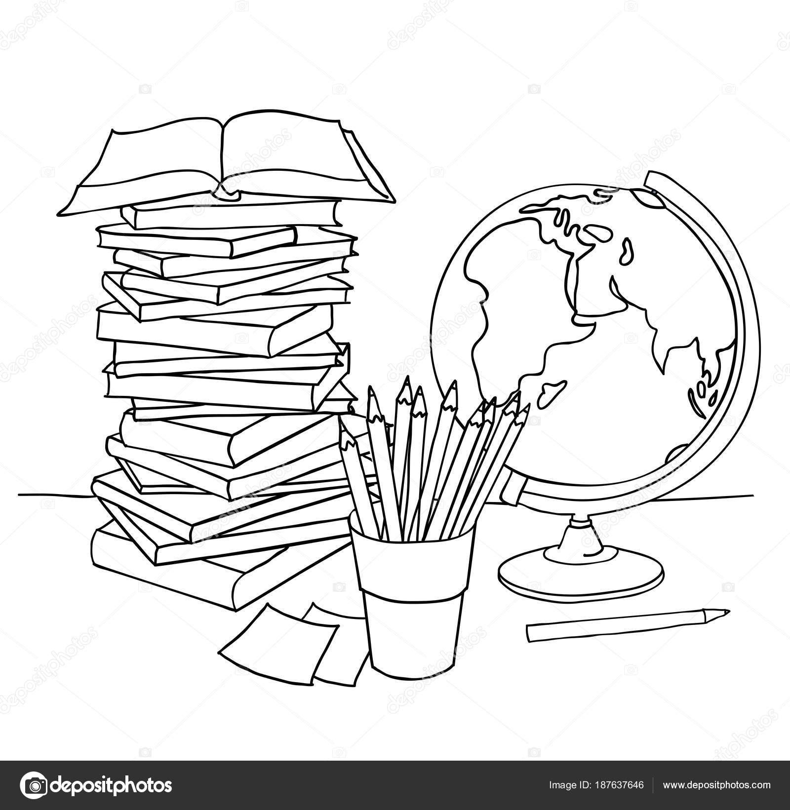 Página Para Colorear Libro Regreso Escuela Boceto Dibujado Mano ...