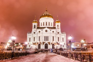 Russia, Moscow January 6, 2018: The Cathedral of Christ the Savior is the cathedral church of the Russian Orthodox Church, located in Moscow on Volkhonka Street