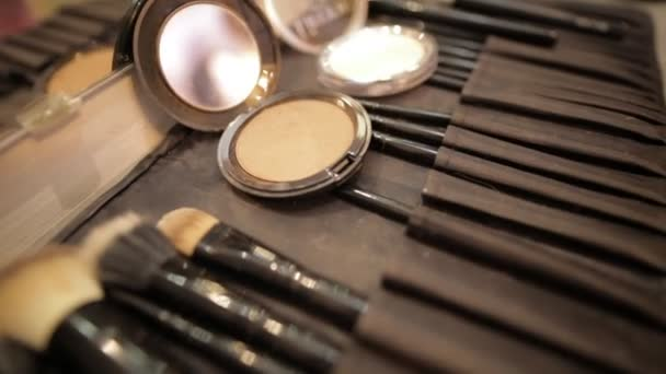 Closeup of professional cosmetics makeup brushes kit in motion